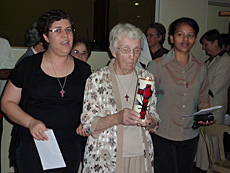 Pioneers and Prophets Sr. Margie with Srs. Lécia and Thalyta during Entrance Procession in Brazil